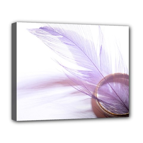 Ring Feather Marriage Pink Gold Deluxe Canvas 20  X 16