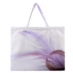 Ring Feather Marriage Pink Gold Zipper Large Tote Bag