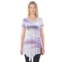 Ring Feather Marriage Pink Gold Short Sleeve Tunic