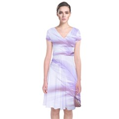 Ring Feather Marriage Pink Gold Short Sleeve Front Wrap Dress