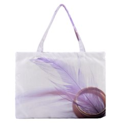 Ring Feather Marriage Pink Gold Medium Zipper Tote Bag