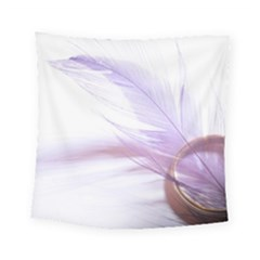 Ring Feather Marriage Pink Gold Square Tapestry (small)