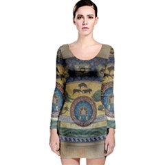 Peace Monument Werder Mountain Long Sleeve Bodycon Dress