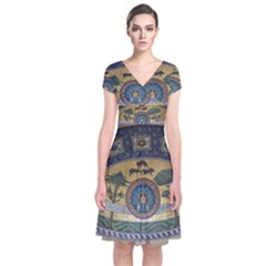 Peace Monument Werder Mountain Short Sleeve Front Wrap Dress