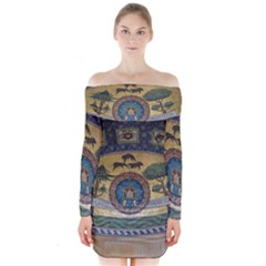 Peace Monument Werder Mountain Long Sleeve Off Shoulder Dress
