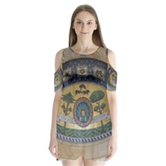 Peace Monument Werder Mountain Shoulder Cutout Velvet  One Piece