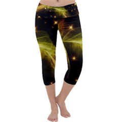 Particles Vibration Line Wave Capri Yoga Leggings