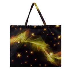 Particles Vibration Line Wave Zipper Large Tote Bag