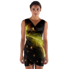 Particles Vibration Line Wave Wrap Front Bodycon Dress
