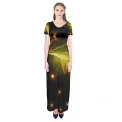 Particles Vibration Line Wave Short Sleeve Maxi Dress