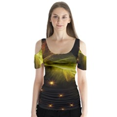 Particles Vibration Line Wave Butterfly Sleeve Cutout Tee