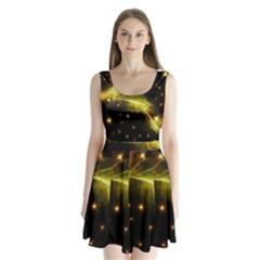 Particles Vibration Line Wave Split Back Mini Dress