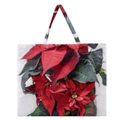 Star Of Bethlehem Star Red Zipper Large Tote Bag