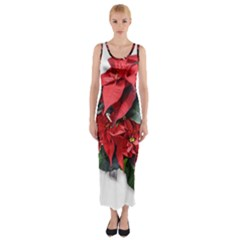 Star Of Bethlehem Star Red Fitted Maxi Dress