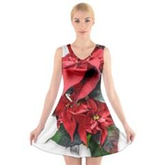 Star Of Bethlehem Star Red V Neck Sleeveless Skater Dress