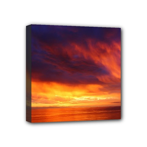 Sunset The Pacific Ocean Evening Mini Canvas 4  X 4
