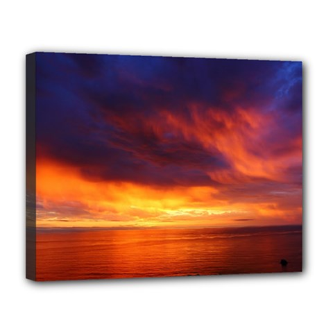 Sunset The Pacific Ocean Evening Canvas 14  X 11