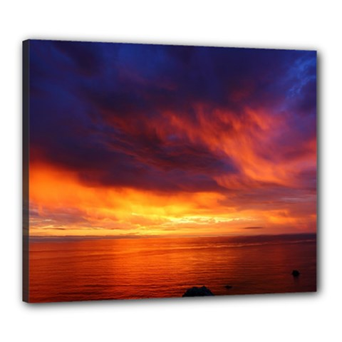 Sunset The Pacific Ocean Evening Canvas 24  X 20