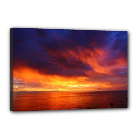 Sunset The Pacific Ocean Evening Canvas 18  X 12