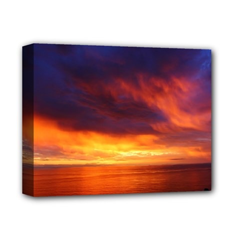 Sunset The Pacific Ocean Evening Deluxe Canvas 14  X 11