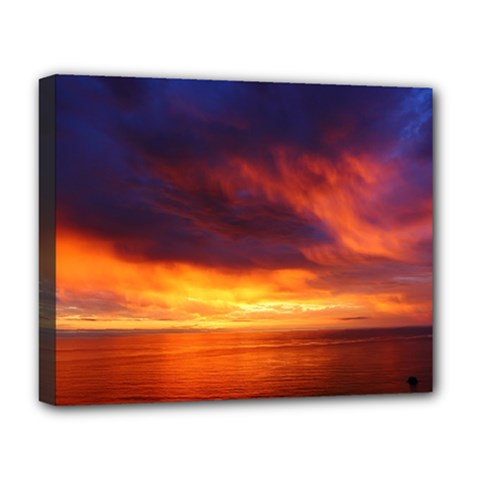 Sunset The Pacific Ocean Evening Deluxe Canvas 20  X 16