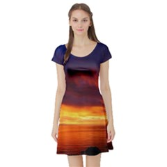 Sunset The Pacific Ocean Evening Short Sleeve Skater Dress