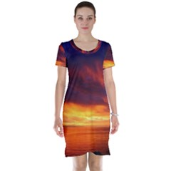 Sunset The Pacific Ocean Evening Short Sleeve Nightdress