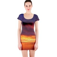 Sunset The Pacific Ocean Evening Short Sleeve Bodycon Dress