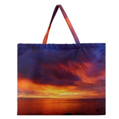 Sunset The Pacific Ocean Evening Zipper Large Tote Bag