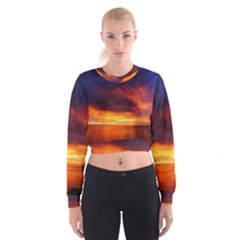 Sunset The Pacific Ocean Evening Women s Cropped Sweatshirt