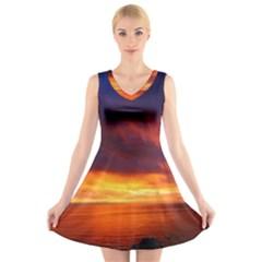 Sunset The Pacific Ocean Evening V Neck Sleeveless Skater Dress