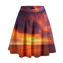 Sunset The Pacific Ocean Evening High Waist Skirt
