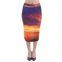 Sunset The Pacific Ocean Evening Velvet Midi Pencil Skirt
