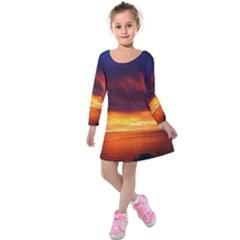 Sunset The Pacific Ocean Evening Kids  Long Sleeve Velvet Dress