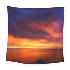 Sunset The Pacific Ocean Evening Square Tapestry (large)