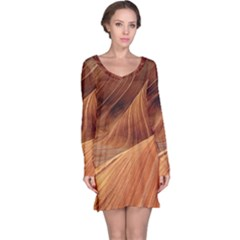Sandstone The Wave Rock Nature Red Sand Long Sleeve Nightdress