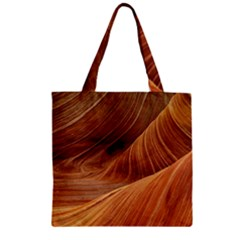 Sandstone The Wave Rock Nature Red Sand Zipper Grocery Tote Bag