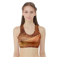 Sandstone The Wave Rock Nature Red Sand Sports Bra With Border