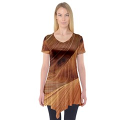 Sandstone The Wave Rock Nature Red Sand Short Sleeve Tunic