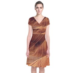 Sandstone The Wave Rock Nature Red Sand Short Sleeve Front Wrap Dress