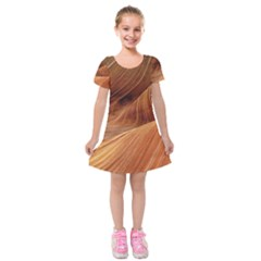 Sandstone The Wave Rock Nature Red Sand Kids  Short Sleeve Velvet Dress