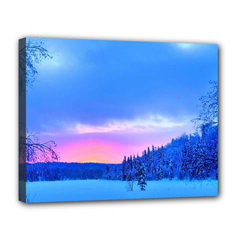 Winter Landscape Snow Forest Trees Canvas 14  X 11