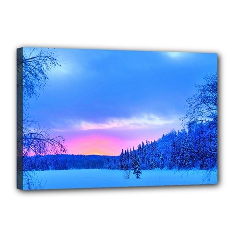 Winter Landscape Snow Forest Trees Canvas 18  X 12