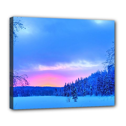 Winter Landscape Snow Forest Trees Deluxe Canvas 24  X 20