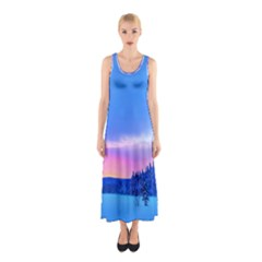 Winter Landscape Snow Forest Trees Sleeveless Maxi Dress