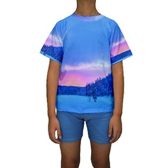 Winter Landscape Snow Forest Trees Kids  Short Sleeve Swimwear