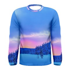 Winter Landscape Snow Forest Trees Men s Long Sleeve Tee