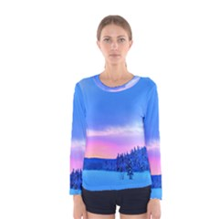 Winter Landscape Snow Forest Trees Women s Long Sleeve Tee