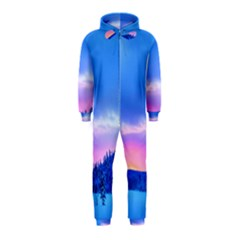 Winter Landscape Snow Forest Trees Hooded Jumpsuit (kids)