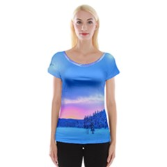 Winter Landscape Snow Forest Trees Women s Cap Sleeve Top